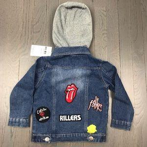 Other - NWT Kids Rolling Stones Hoodie Denim Jean Jacket